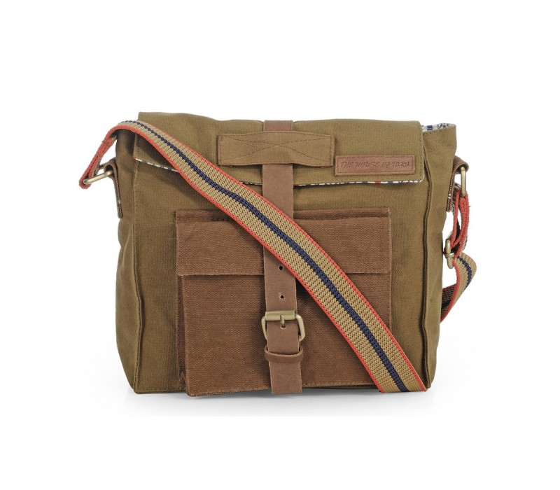 Dual Tone Rugged Canvas Messenger Bag (Khaki)