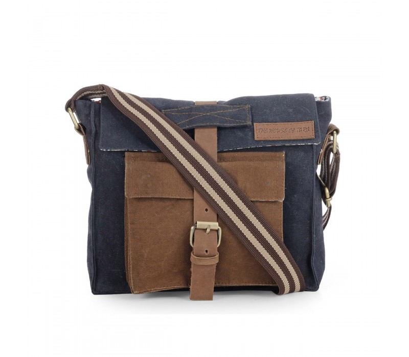 Dual Tone Rugged Canvas Messenger Bag (Midnight Blue)
