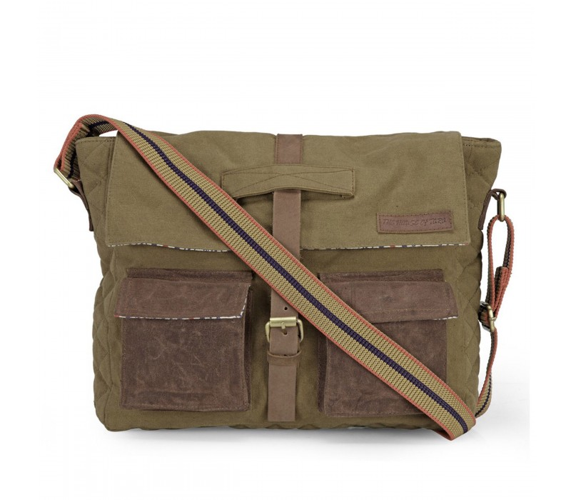 Distress Finish Canvas Messenger Bag (Khaki)