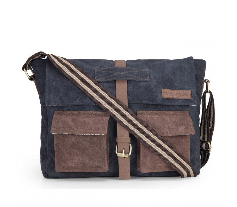 Distress Finish Canvas Messenger Bag (Midnight Blue)