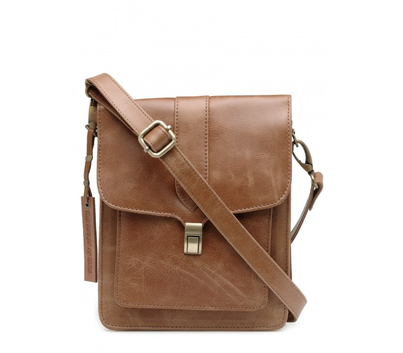 Genuine Leather Unisex Crossbody Bag (Distress Tan)