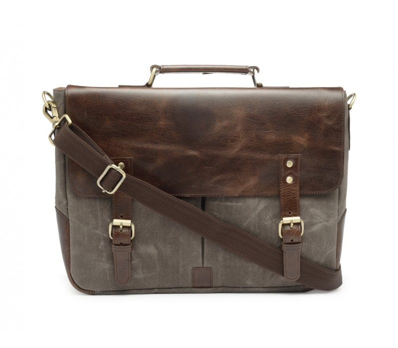 Leather and Canvas Office/Laptop Bag (Dark Tan-Taupe Grey)