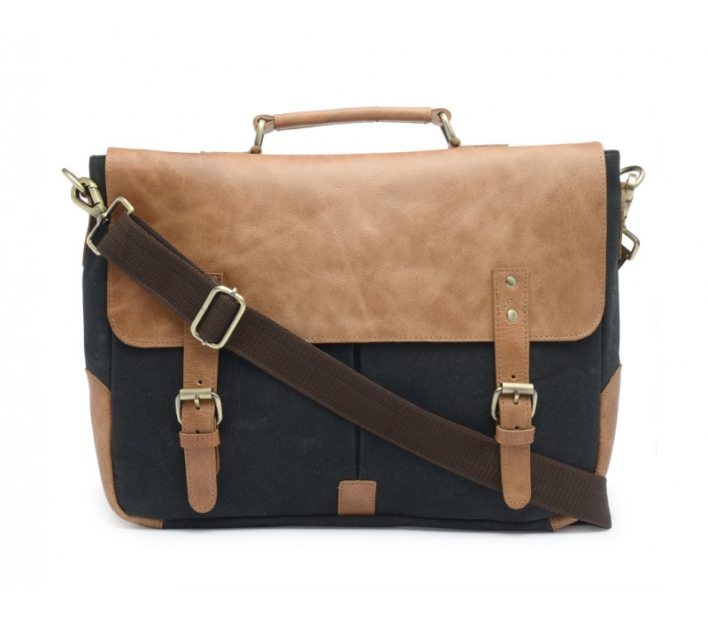 Leather and Canvas Office/Laptop Bag (Tan-Raven Black)