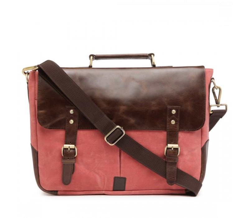 Leather and Canvas Office/Laptop Bag (Dark Tan-Coral Pink)