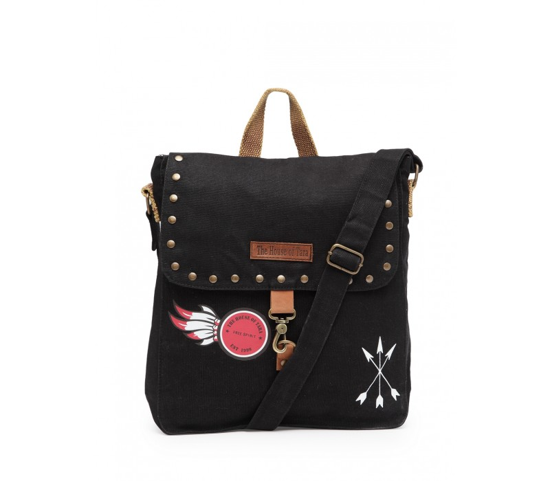 Studded Messenger Bag (Raven Black)