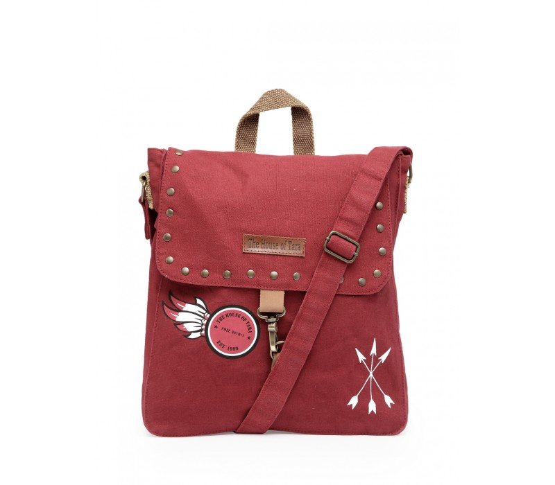 Studded Messenger Bag (Tibetan Red)