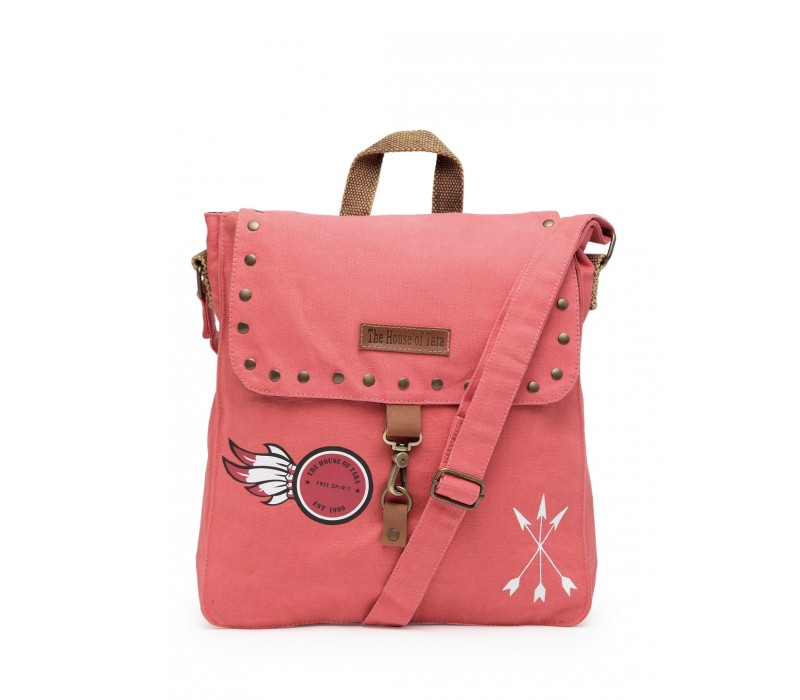 Studded Messenger Bag (Coral Pink)