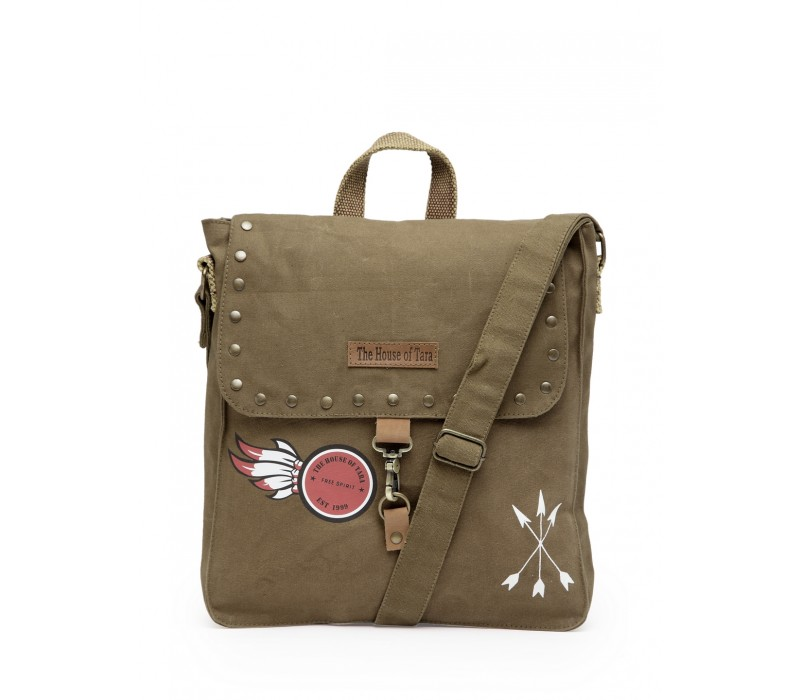 Studded Messenger Bag (Khaki)