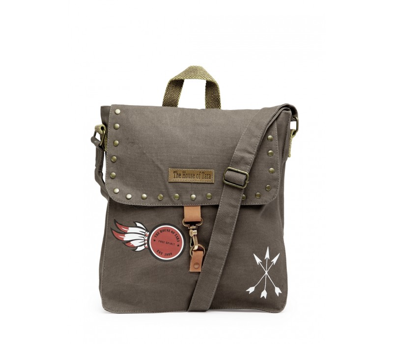 Studded Messenger Bag (Taupe Grey)