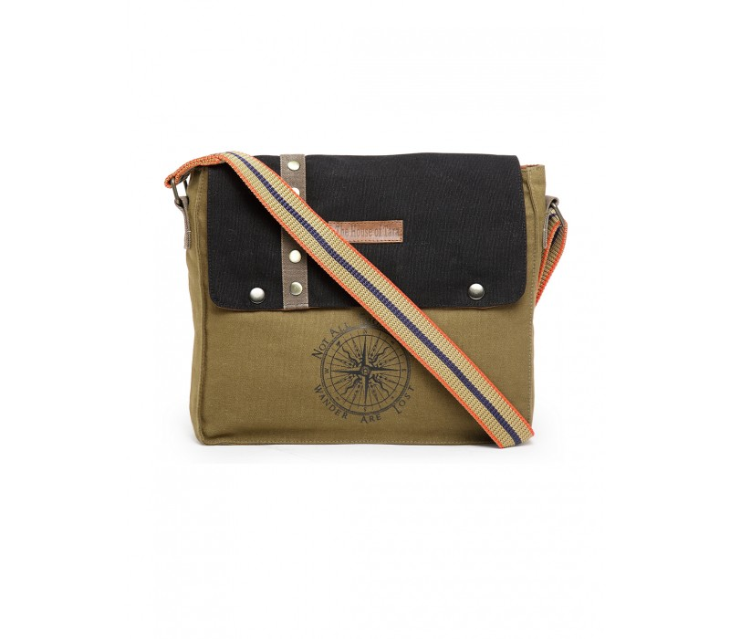 Unisex Messenger Bag (Khaki-Black)