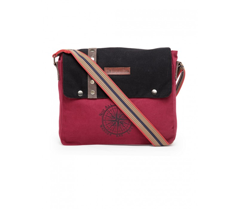 Unisex Messenger Bag (Maroon-Black)