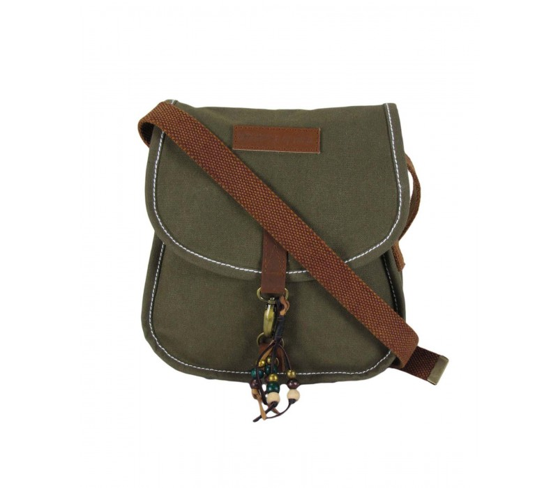 Waxed Canvas Messenger Bag (Olive Green)
