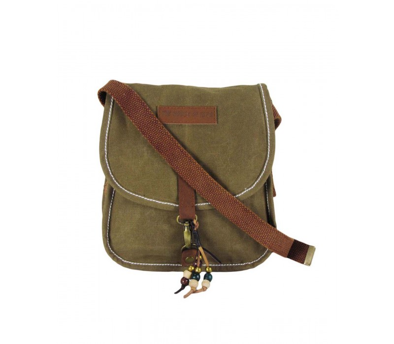 Wax Coated Canvas Girls Messenger Bag (Small, Khaki)