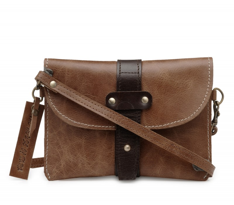 Leather Crossbody Wallet (Distress Tan)