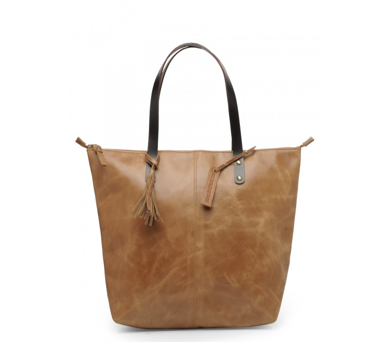Genuine Leather Shoulder Bag (Distress Tan)