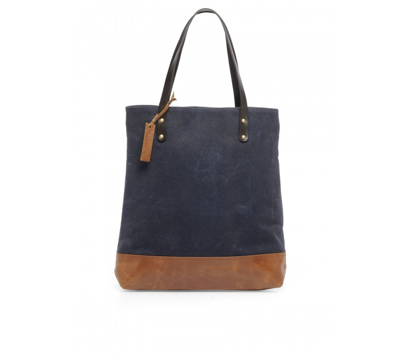 Canvas and Leather Tote HTT 361 (Midnight Blue)