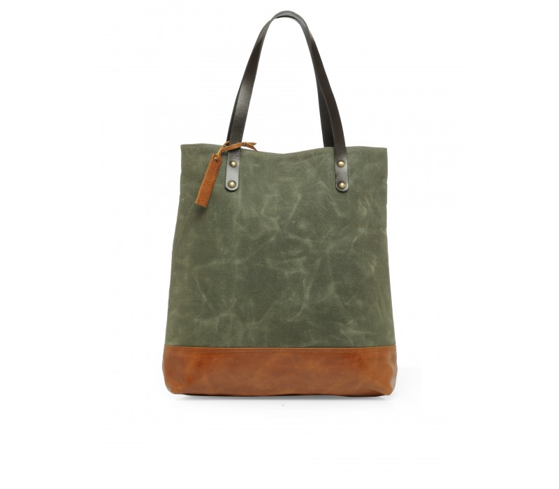 Canvas and Leather Tote HTT 362 (Moss Green)