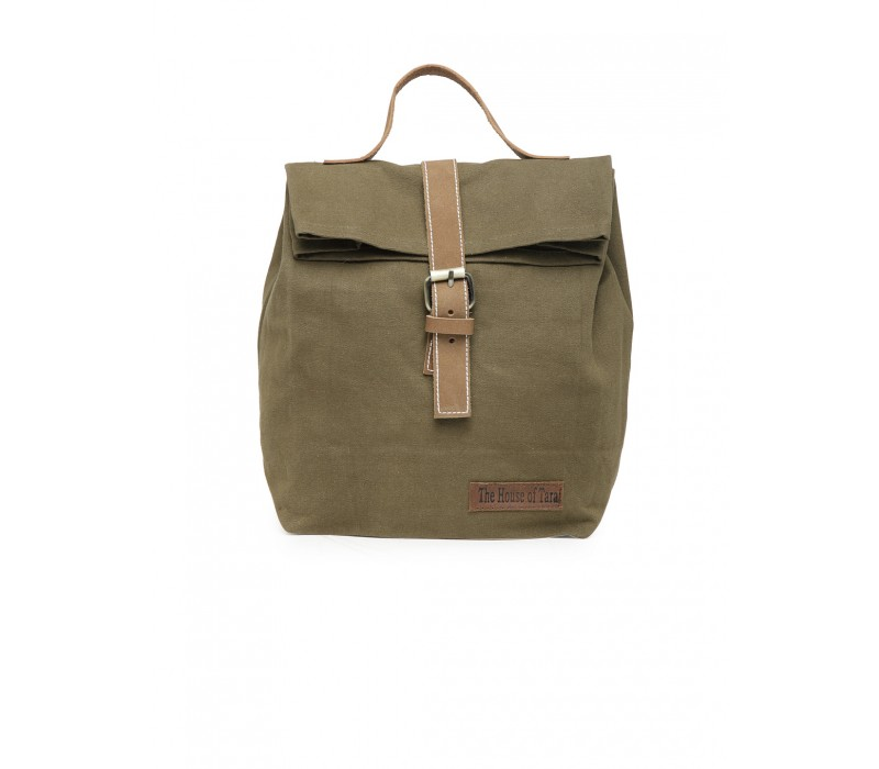 Canvas Lunch Box Bag (Khaki - HTTB 001)