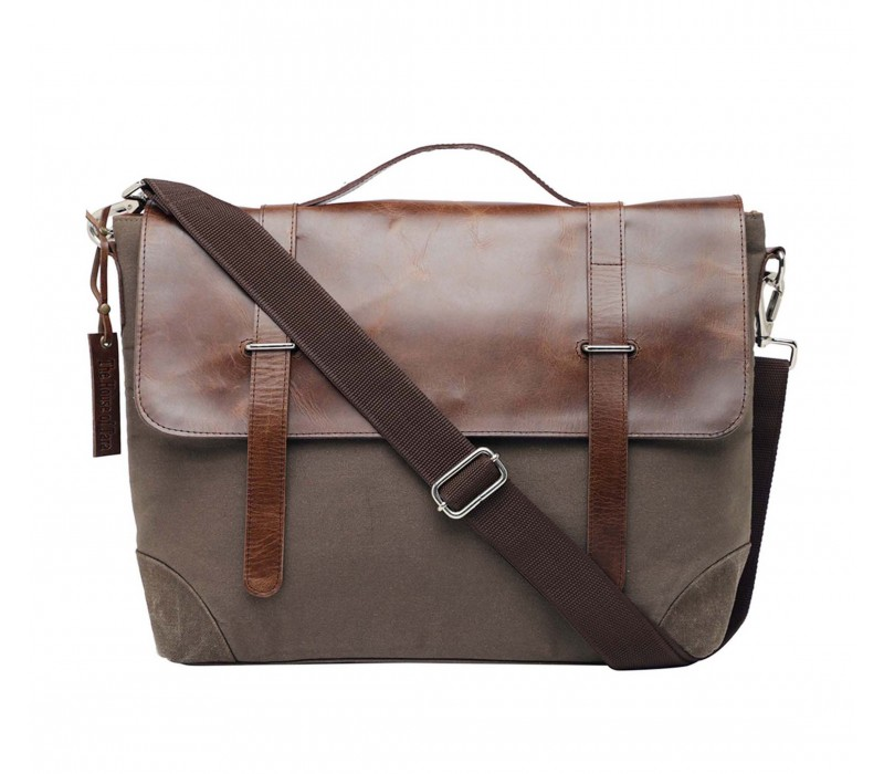 Leather and Canvas Laptop and Office Bag (HTMB 118)