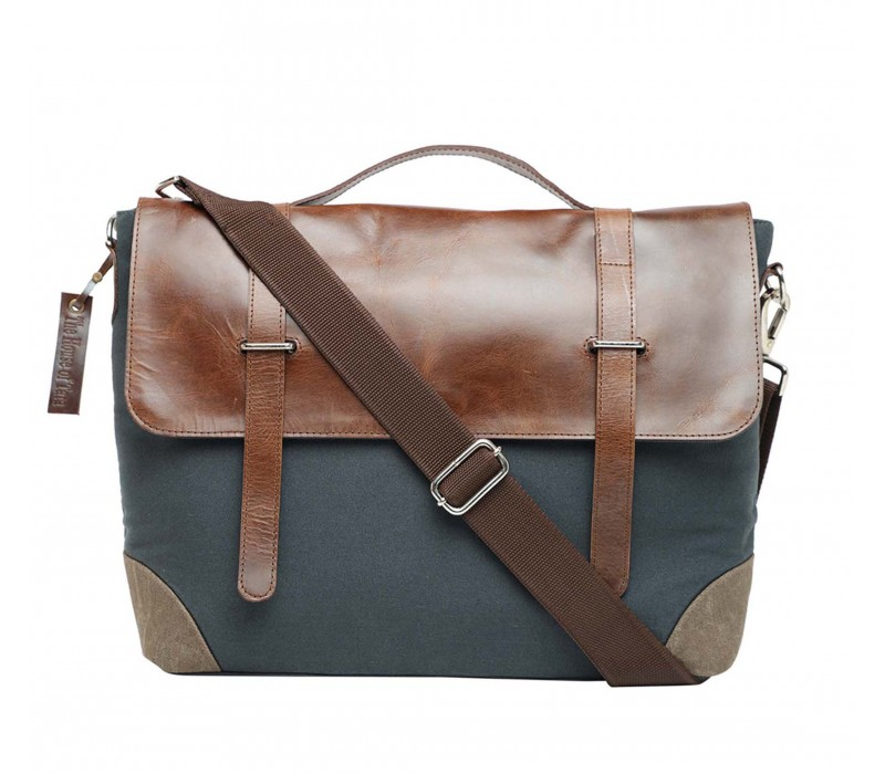 Leather and Canvas Laptop and Office Bag (HTMB 117)