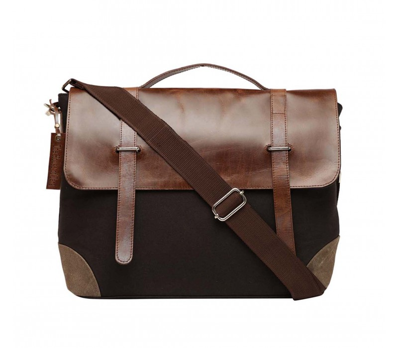 Leather and Canvas Laptop and Office Bag (HTMB 116)