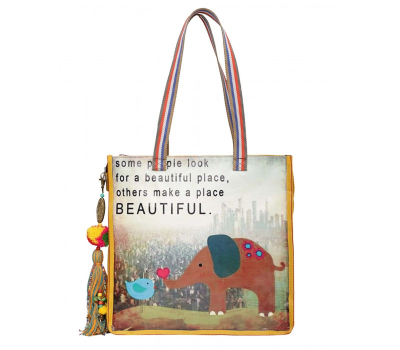 Statement Tote Bag in Water Proof Material (HTT 412)