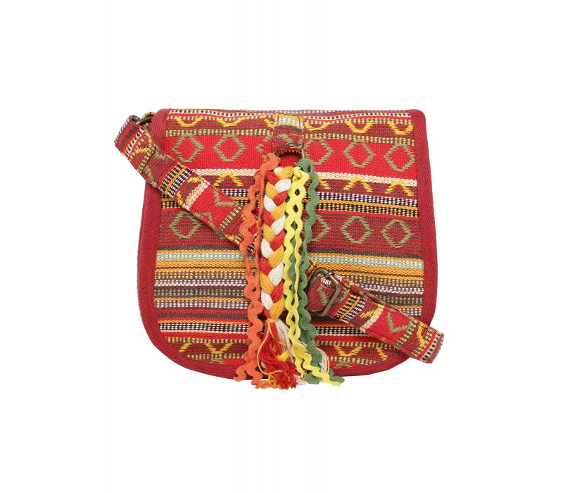 Handloom Fabric Embellished Cross Body Bag (HTCB 062)