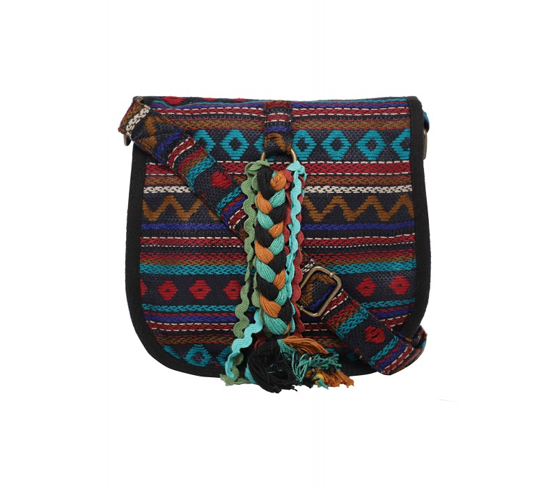 Handloom Fabric Embellished Cross Body Bag (HTCB 063)
