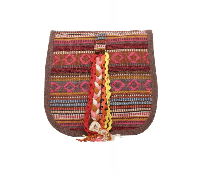 Handloom Fabric Embellished Cross Body Bag (HTCB 065)