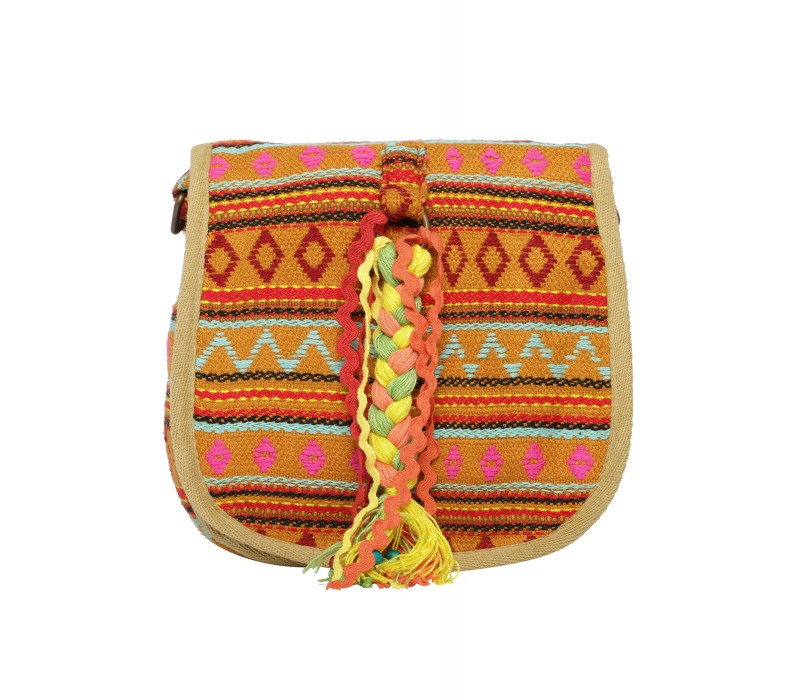 Handloom Fabric Embellished Cross Body Bag (HTCB 066)