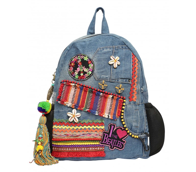 Up Cycled Denim, Embellished Hippy Backpack
