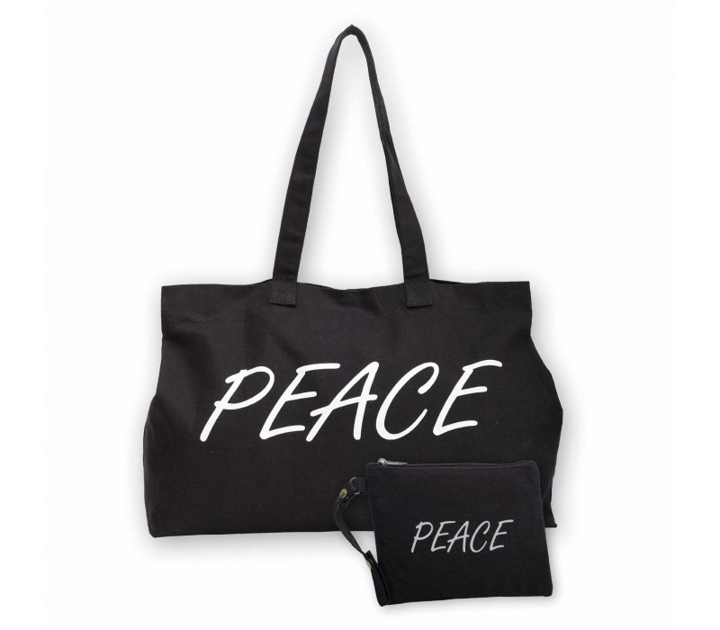 Black Cotton Canvas Peace Print Tote Shopping Handbag and Detachable Pouch for Women (HTT 427)