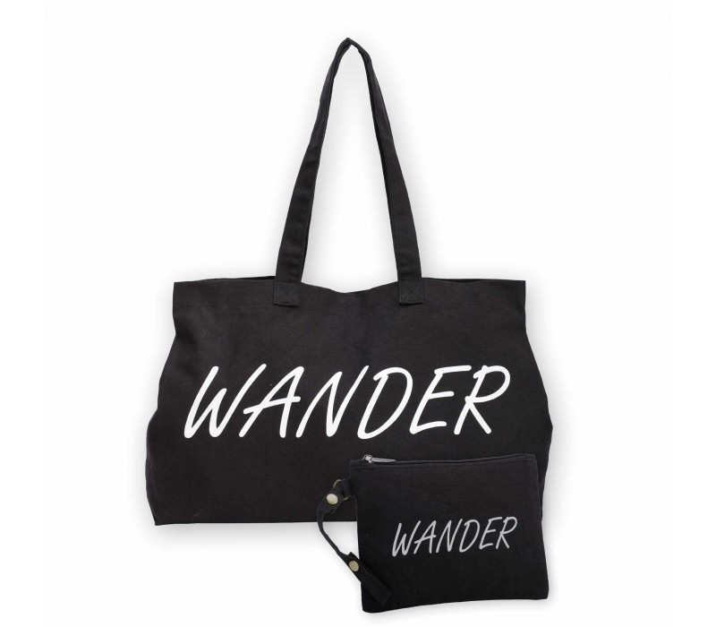Black Cotton Canvas Wanderer Print Tote Shopping Handbag and Detachable Pouch for Women