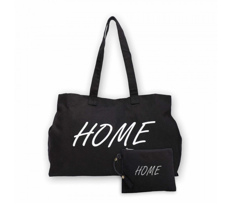 Black Cotton Canvas Home Print Tote Shopping Handbag and Detachable Pouch for Women