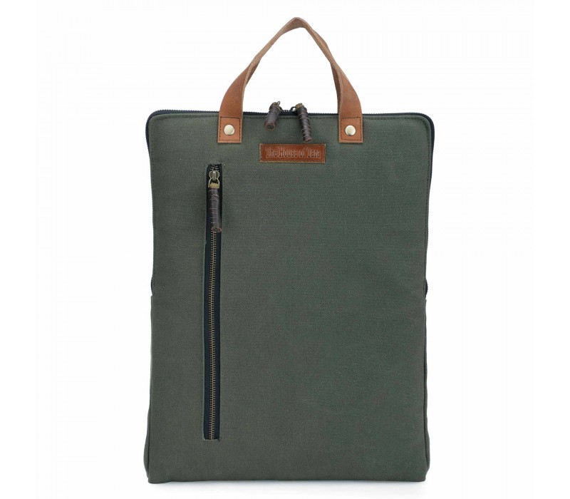 Moss Green 3 Ltrs Sturdy Waterproof Canvas Slim Travel Laptop Backpack for Office, College for Men and Women