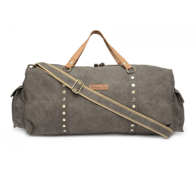 7f3f8ea455ce Special Canvas Large Duffle Gym Bag (Taupe Grey) HTD 141