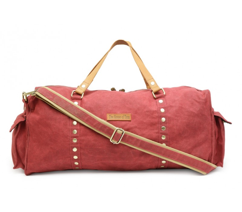 336f266722b7 Special Canvas Large Duffle Gym Bag (Tibetan Red) HTD 143
