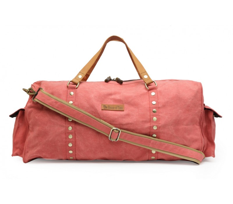 Special Canvas Large Duffle Gym Bag (Coral Pink) HTD 144 29ef3a4906ed2