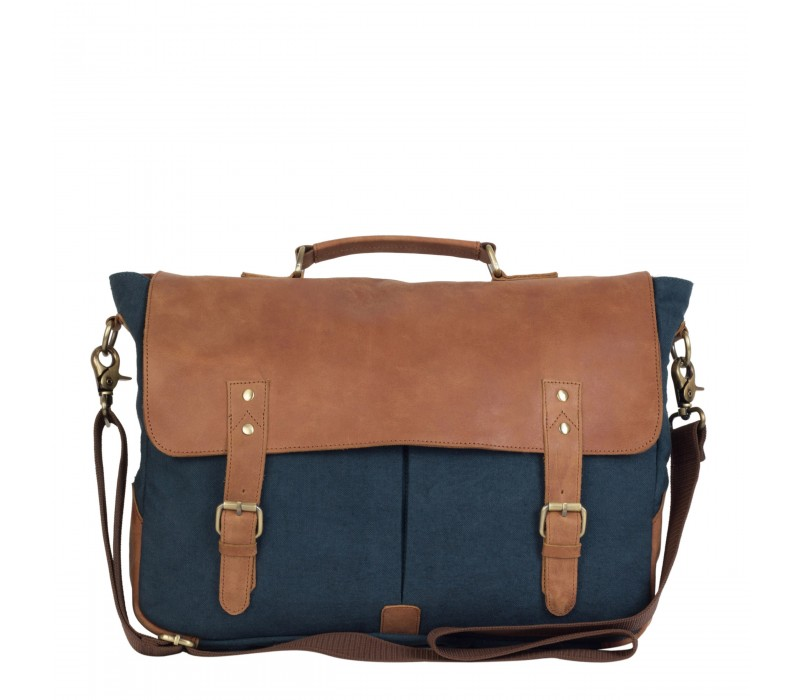 4a9a74bd55e5 Leather and Canvas Laptop and Office Bag